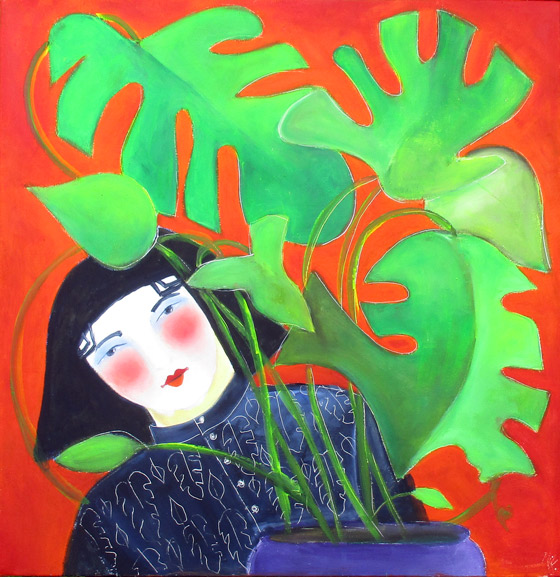 GIRL WITH CHEESE PLANT